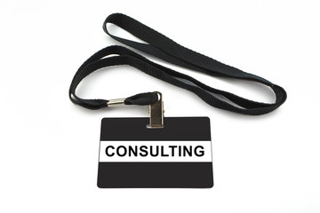 consulting badge isolated on white background