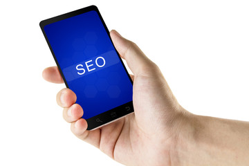 SEO or Search engine optimization word on digital smart phone