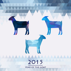 blue goats, the symbol of the new year of the goat