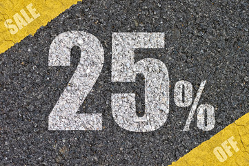 road surface with text .discount sign.