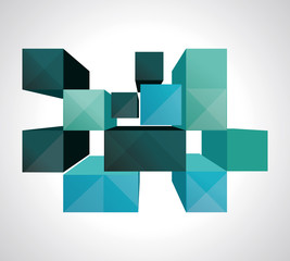 Colorful 3d Cubes background - Vector Design