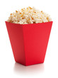 Full red bucket of popcorn. - 70463878
