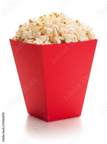 Full red bucket of popcorn. - 70463878