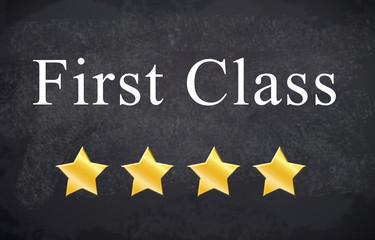 Kreidetafel mit First Class