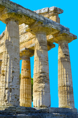 Details admires the greek temple of Cecere - Paestum Italy