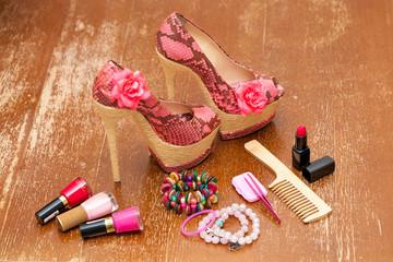 Women shoes pink. women's accessories. Stylized snake skin