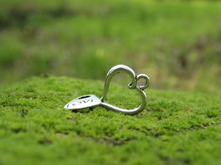 Silver Heart in Green Moss Background for holidays