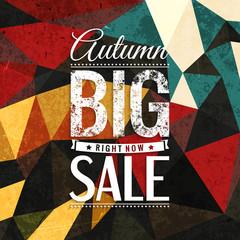 Autumn sale vector typography on triangular background in bright