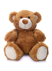 Sweet teddy bear on a white background