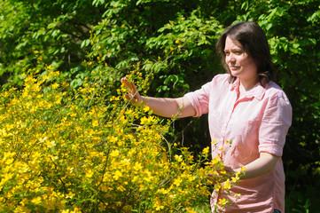 Woman works in garden