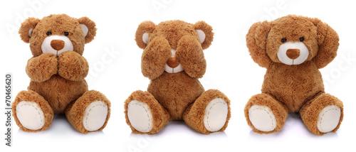 Three teddy bears on white background - 70465620