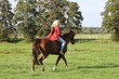 canvas print picture - junge Frau reitet ihr Pferd