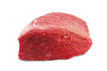 fresh beef slab isolated on white