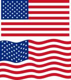 Flat and waving American Flag. Vector - 70466897