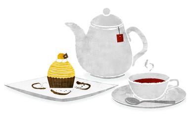 モンブランと紅茶 <黄>