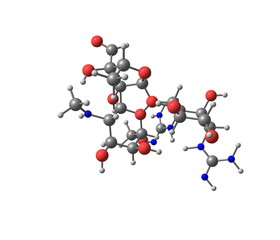 Streptomycin molecule isolated on white