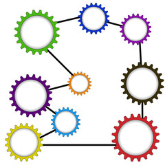 Connecting gears of different colors. Raster