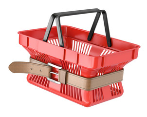 Shopping basket with tighten belt