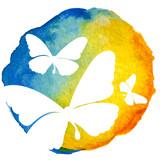 Butterflies in watercolor circle