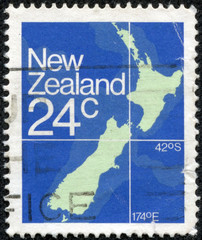 stamp from New Zealand illustrating a New Zealand map