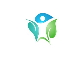 spa leaf people logo nature wellness vector water drop abstract