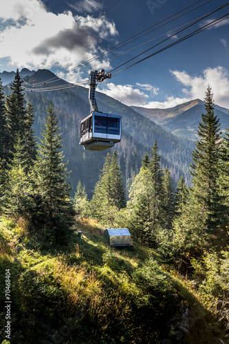 Cable car in Kasprowy Wierch peak in Tatra mountains, Poland. - 70468404