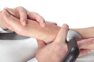 therapy and relaxing massage to the muscles of the feet