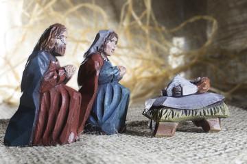 Handmade wooden colorful Christmas crib