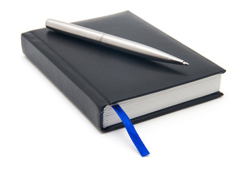 black diary and pen