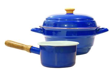 Blue Kitchenware isolated on white