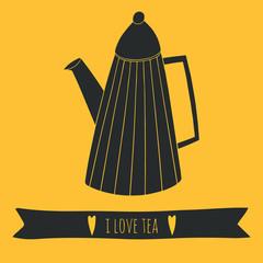 I love tea cute design. Illustration for kitchen and cafe