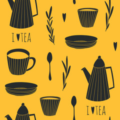 ea time seamless pattern. Illustrated background for tea lovers