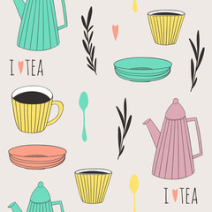 Tea time seamless pattern. Illustrated background for tea lovers
