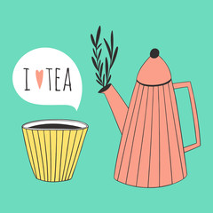 I love tea design. Cute illustration of cup and teapot