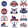 Set of vintage baseball labels and badges. Vector Illustration e