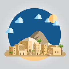 Flat design desert village illustration