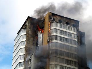 skyscraper on fire