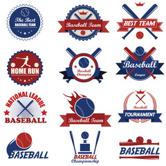 Set of vintage baseball labels and badges. Vector Illustration e