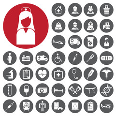 Nurses Hospital Medical icons set. Vector Illustration eps10