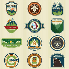 Set of retro vintage camp labels badge. Vector Illustration eps1