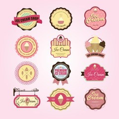 Vintage and Modern Ice Cream shop logo badges and labels. Vector
