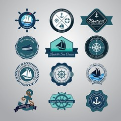 Vintage Retro Nautical badges and labels icons set. Vector Illus