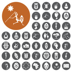 African Culture Icons set. Vector Illustration eps10