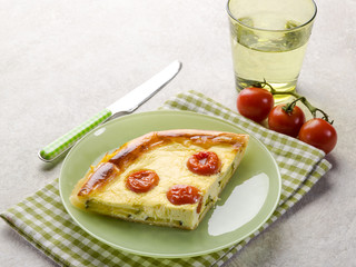 vegetables cake with zucchinis tomatoes and cheese