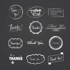 Drawn and Rendered Thank You vintage badge label. Vector Illustr
