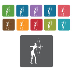 Africa Archer icon. African culture icons set. Rectangle colourf