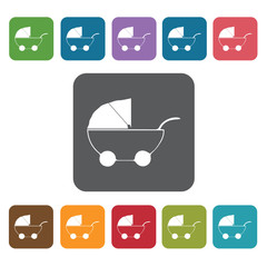 Stroller icon. Baby Toys And Care icon set. Rectangle colourful