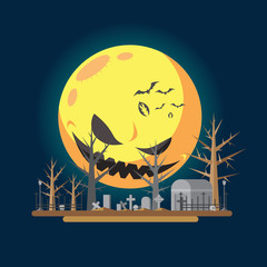Flat design halloween graveyard illustration