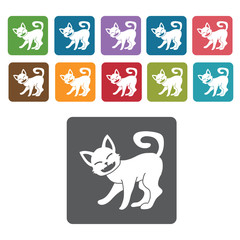 Kitty icon. Cat icon set. Rectangle colourful 12 buttons. Vector