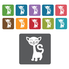 Long neck cat icon. Cat icon set. Rectangle colourful 12 buttons